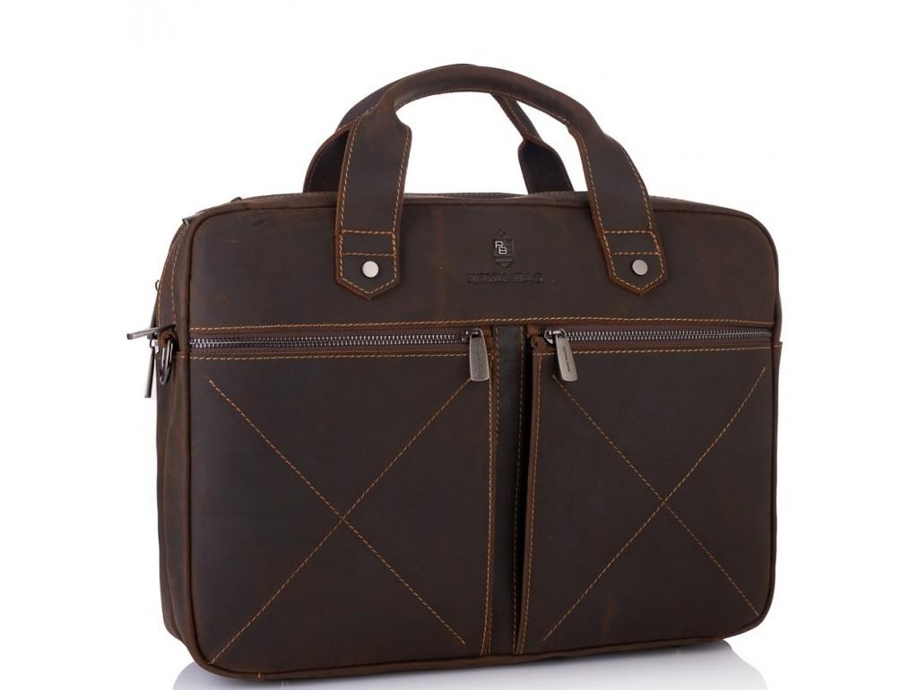 Мужская сумка на 2 отдела для ноутбука темно-коричневая Royal Bag RB012R - Royalbag