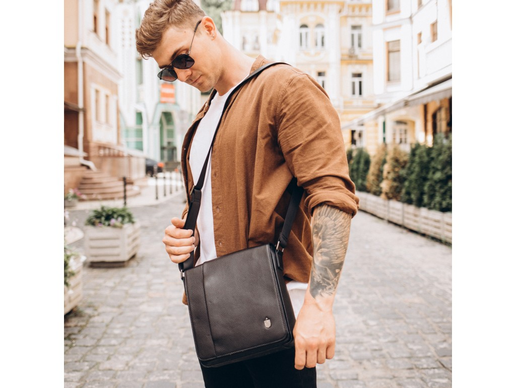 Мужская кожаная сумка через плечо мессенджер Royal Bag RB2970011 - Royalbag