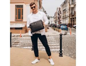 Мужская средняя кожаная черная сумка через плечо мессенджер Royal Bag RB2970051 - Royalbag
