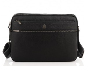 Чоловіча середня шкіряна чорна сумка через плече месенджер Royal Bag RB2970051 - Royalbag