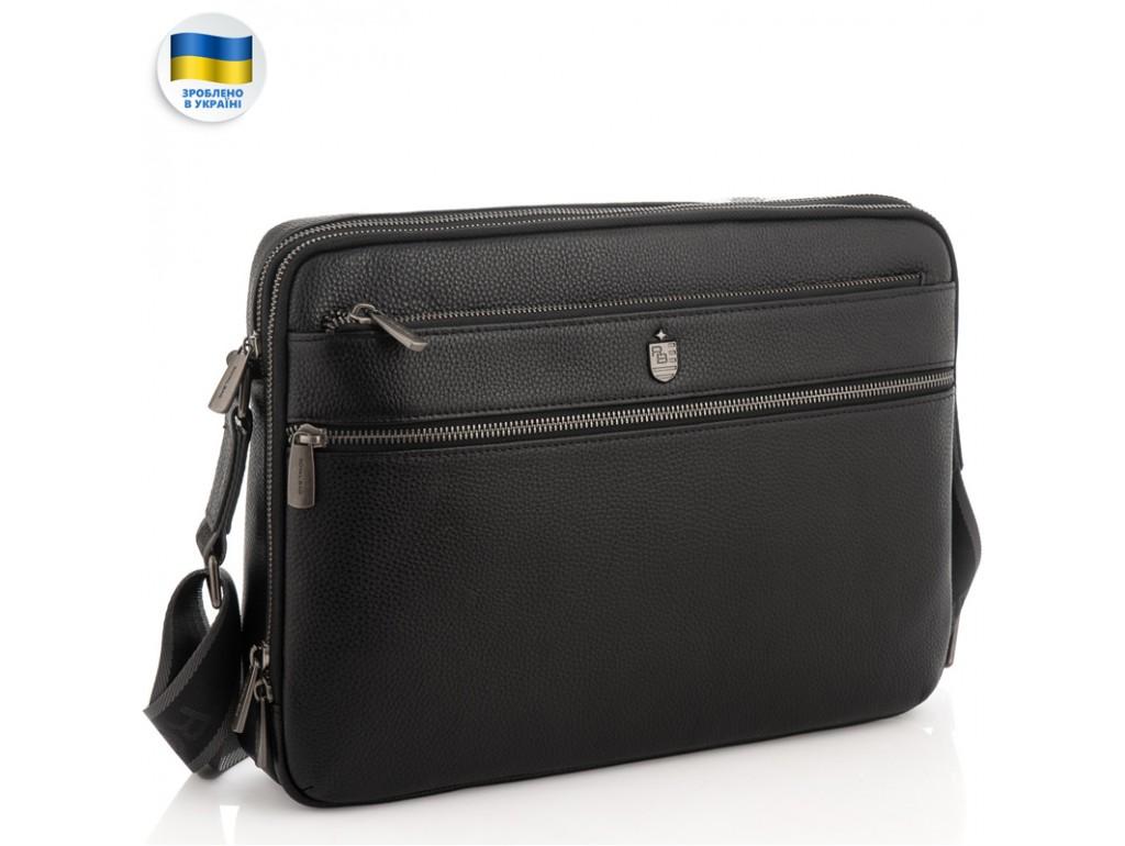 Мужская средняя кожаная черная сумка через плечо мессенджер Royal Bag RB2970051 - Royalbag Фото 1