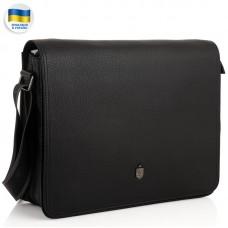 Мужская большая кожаная черная сумка через плечо Royal Bag RB2970121 - Royalbag