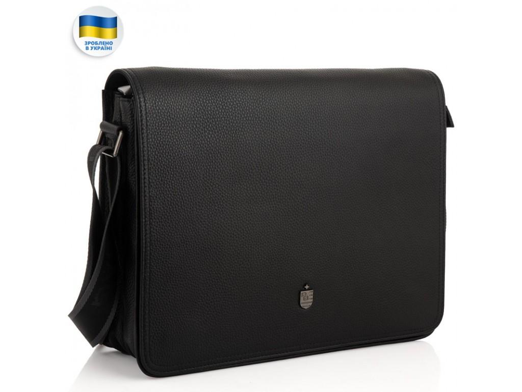 Мужская большая кожаная черная сумка через плечо Royal Bag RB2970121 - Royalbag Фото 1