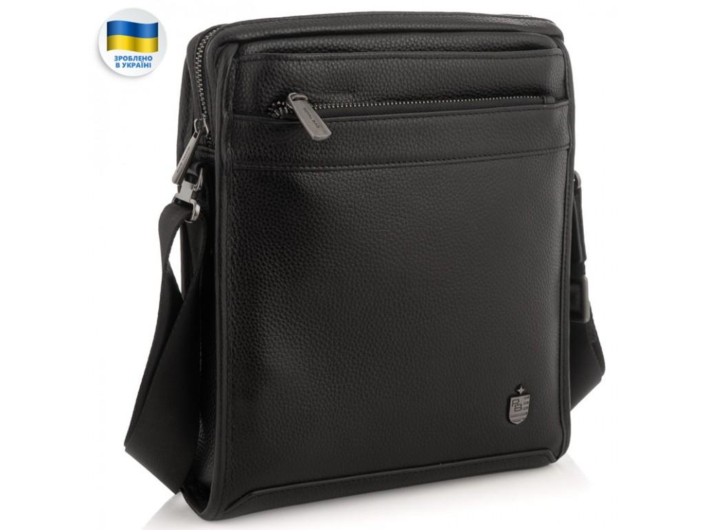 Мужская средняя кожаная черная сумка через плечо Royal Bag RB287891 - Royalbag Фото 1