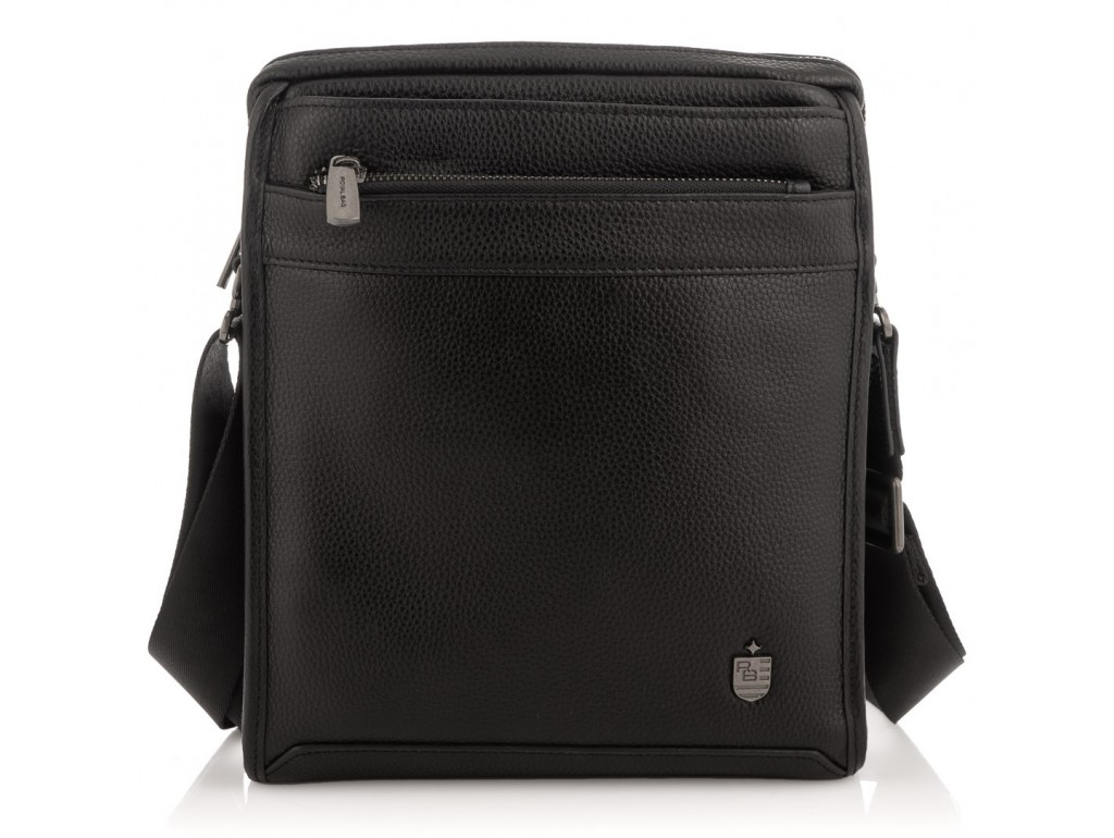Мужская средняя кожаная черная сумка через плечо Royal Bag RB287891 - Royalbag