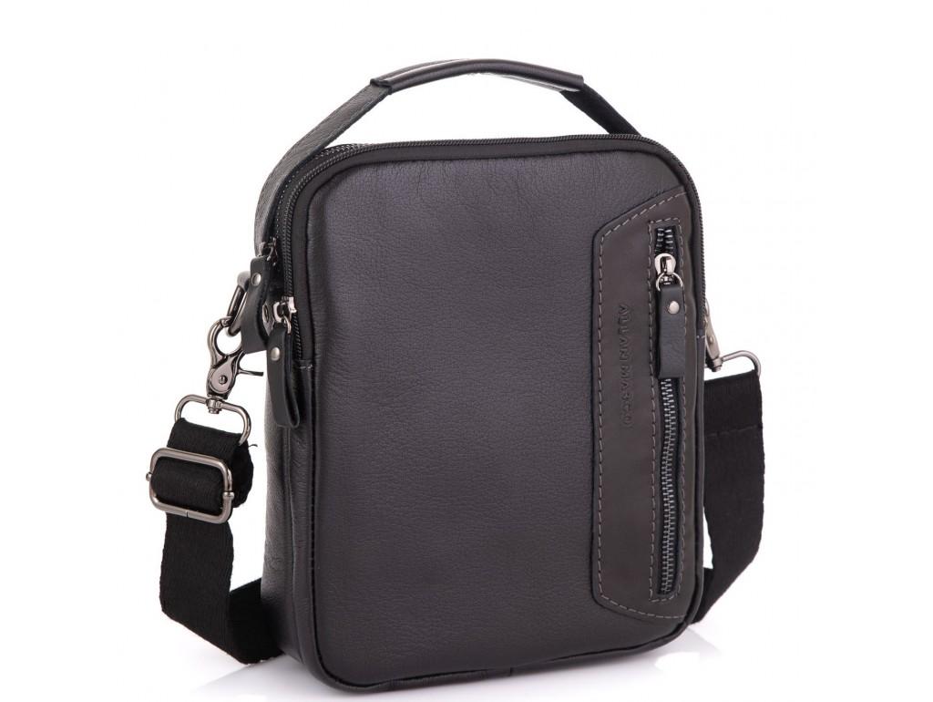 Кожаная сумка через плечо черная Allan Marco RR-4099A - Royalbag Фото 1