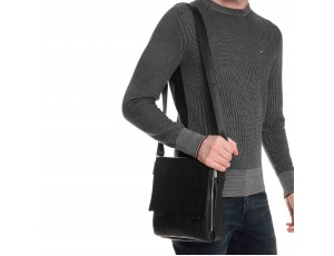 Мужская кожаная сумка через плечо с клапаном Royal Bag RB-020A - Royalbag