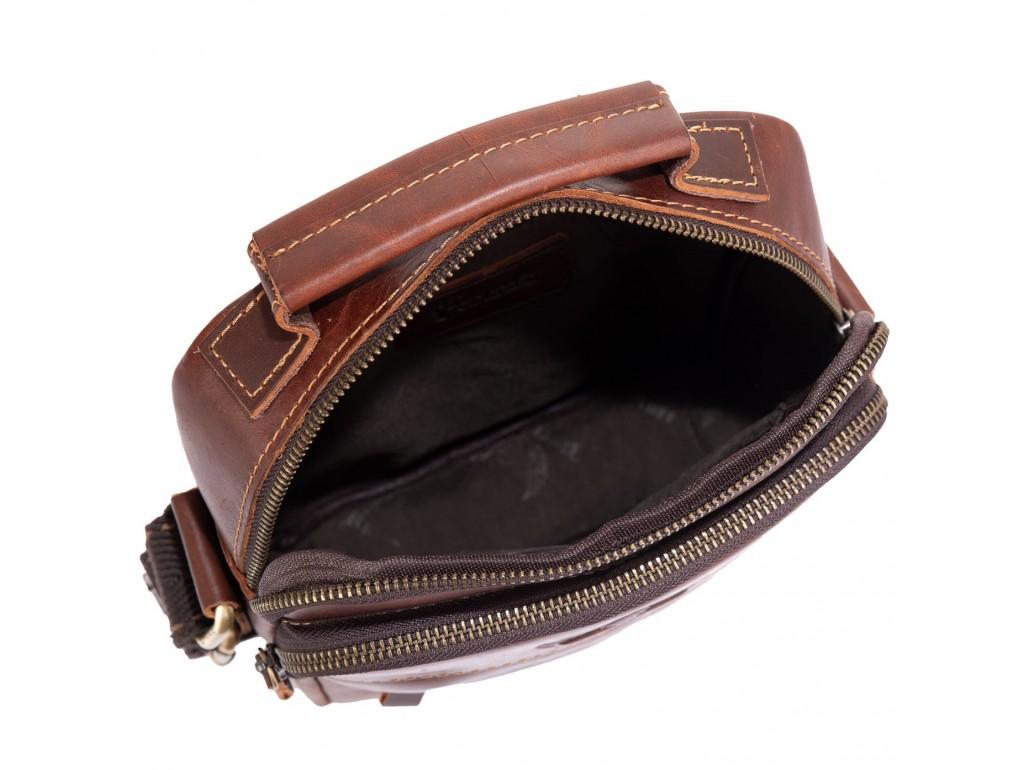 Сумка кожаная через плечо коричневого цвета Ruff Ryder RR-1969-2B - Royalbag