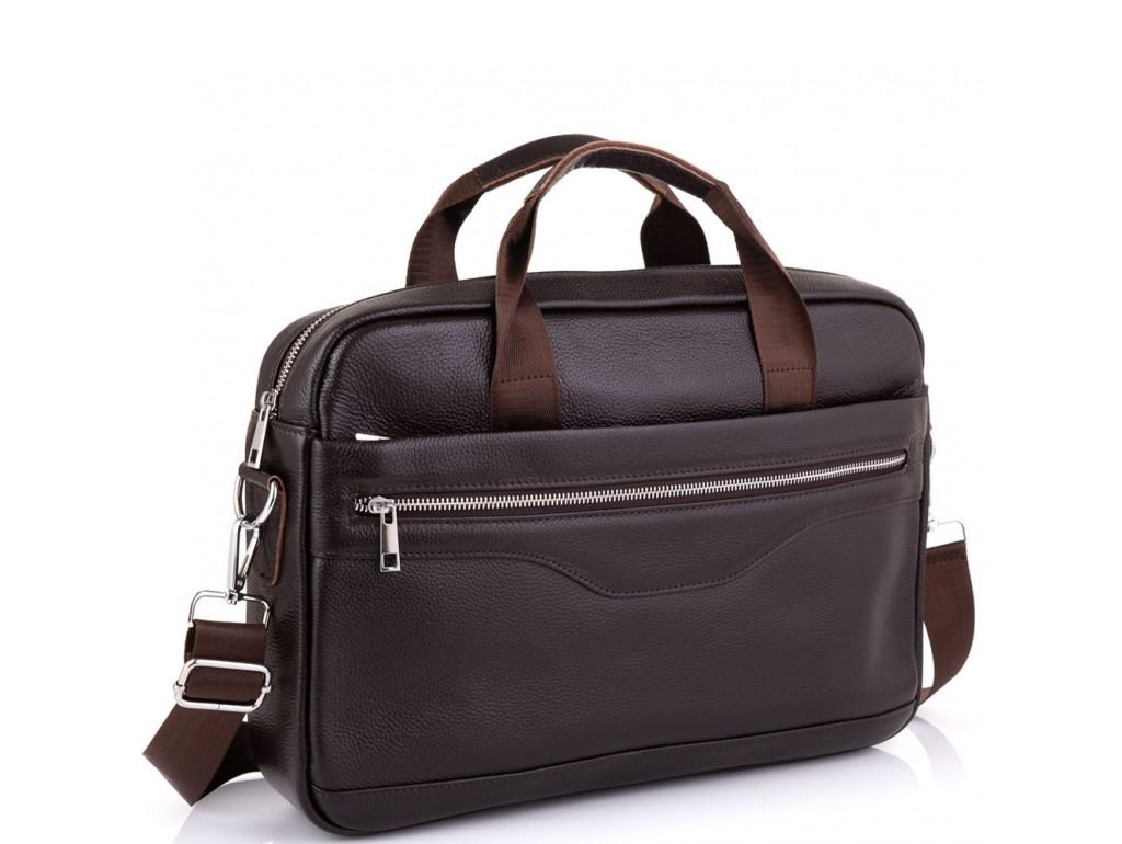 Кожаная сумка для ноутбука коричневая Tiding Bag A25-1128C - Royalbag Фото 1