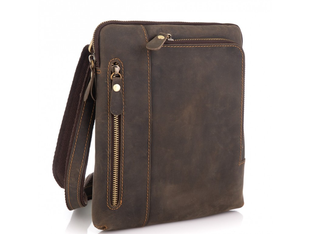 Сумка через плечо мужская коричневая Tiding Bag t0030R - Royalbag Фото 1
