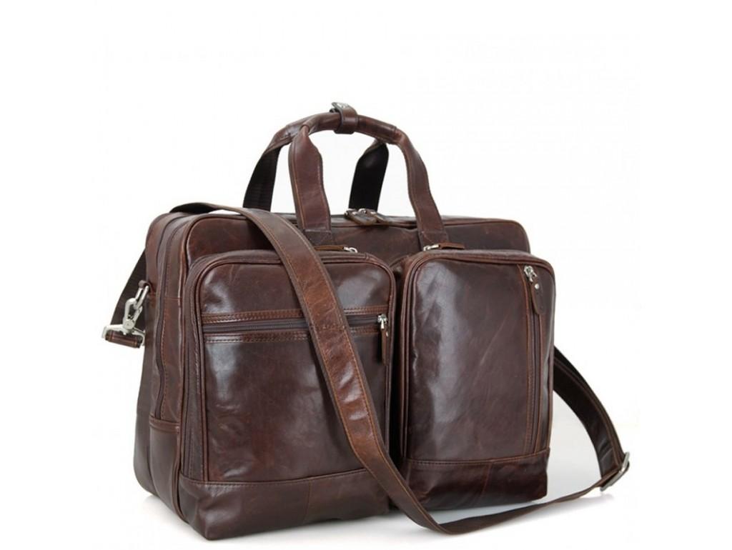 Мужская дорожная деловая кожаная сумка с карманами Tiding Bag 7343C - Royalbag Фото 1