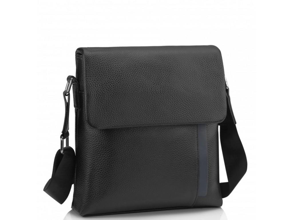 Мужская кожаная сумка через плечо черная Tiding Bag A25F-9913A - Royalbag Фото 1