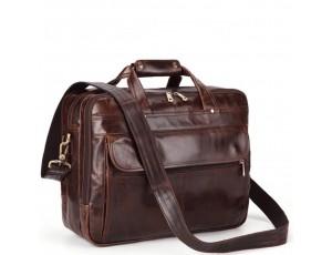 Кожаная сумка-портфель вместительная дорожная Jasper&Maine 7146C - Royalbag