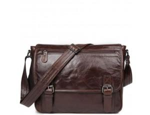 Кожаная мужская сумка через плечо темно-коричневая Jasper&Maine 7022C - Royalbag