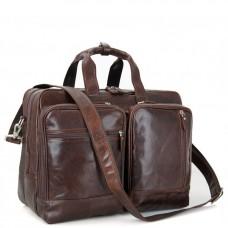Мужская дорожная деловая кожаная сумка с карманами Tiding Bag 7343C - Royalbag Фото 2