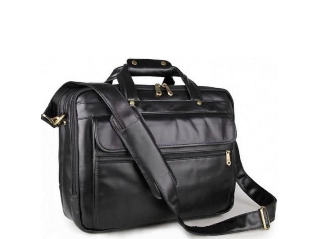 Мужская кожаная сумка-портфель на три отдела для документов и ноутбука Jasper & Maine 7146A - Royalbag Фото 1