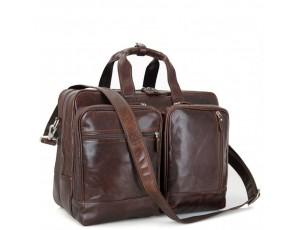 Мужская дорожная деловая кожаная сумка с карманами Tiding Bag 7343C - Royalbag
