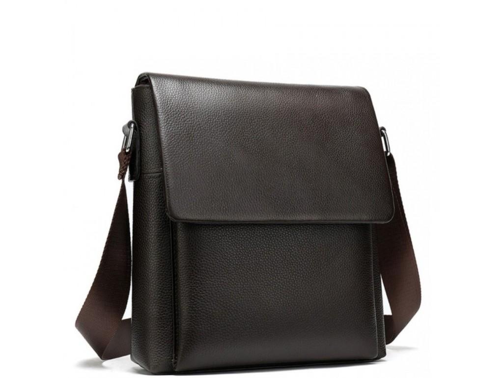 Сумка через плечо мужская кожаная коричневая Tiding Bag A25-1278C - Royalbag Фото 1