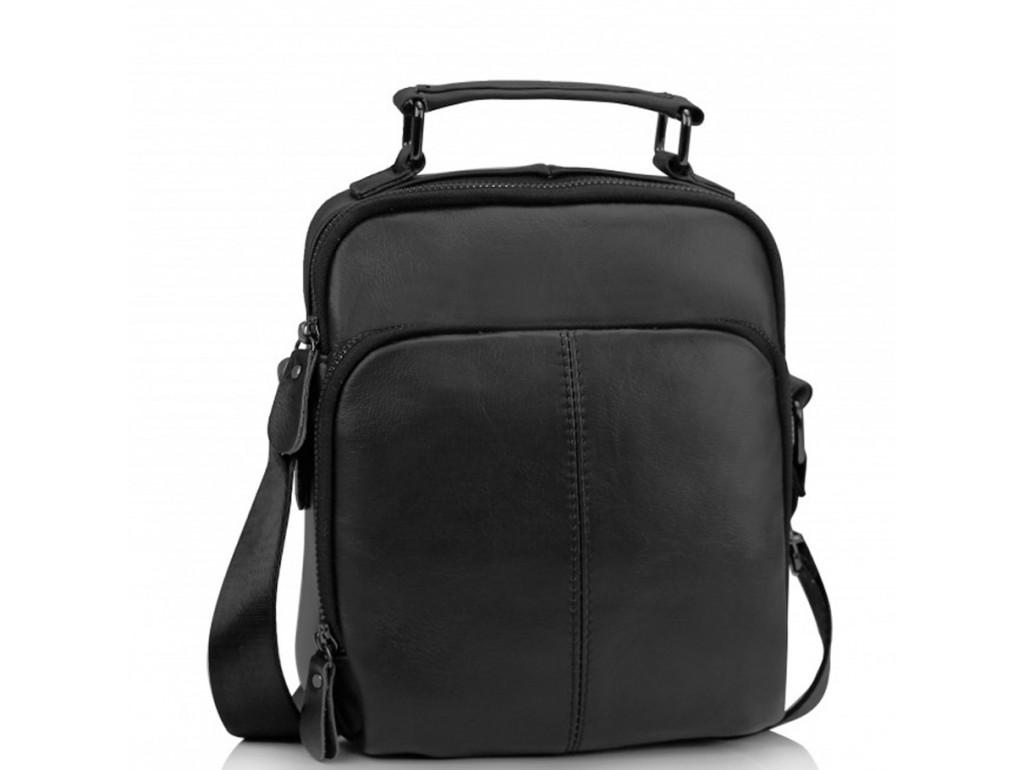 Мужская кожаная сумка на плечо черная Tiding Bag M35-0118A - Royalbag Фото 1