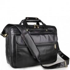 Мужская кожаная сумка-портфель на три отдела для документов и ноутбука Jasper & Maine 7146A - Royalbag Фото 2