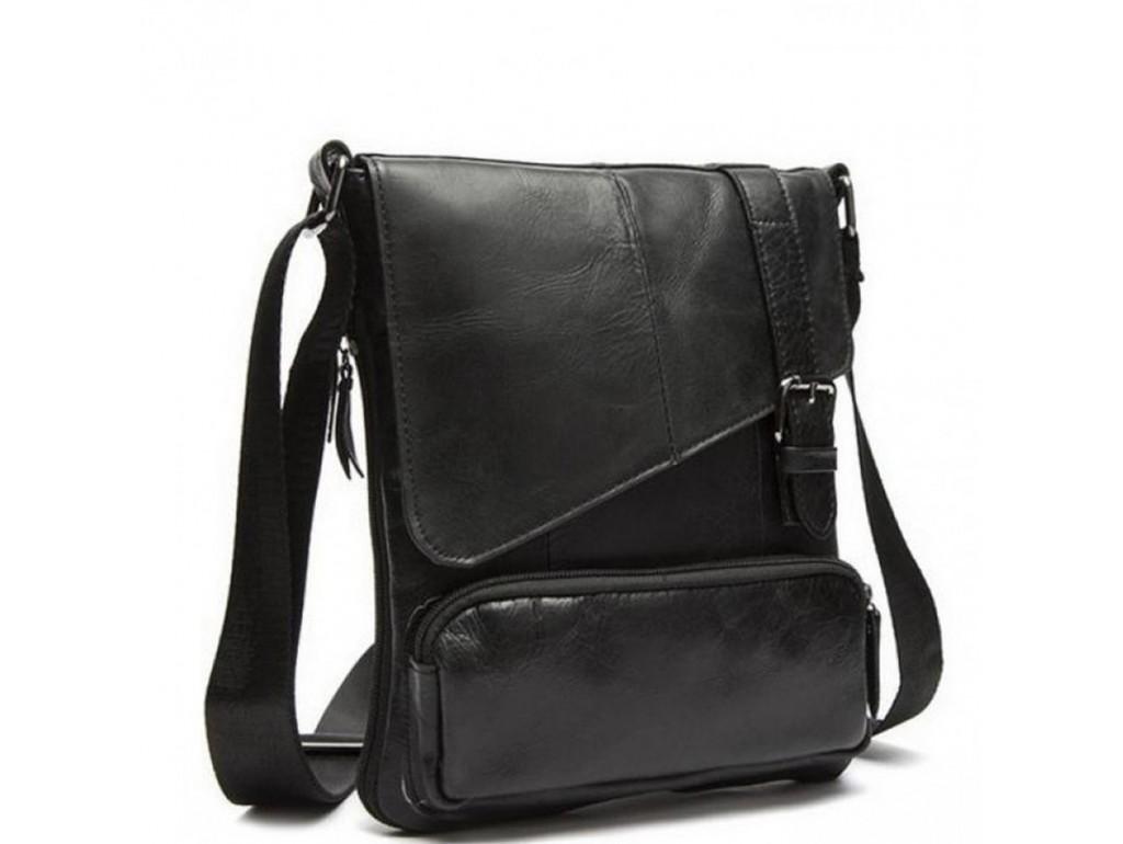 Мужская сумка из натуральной фактурной кожи черного цвета BEXHILL BX8239A - Royalbag Фото 1