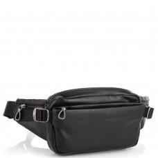 Сумка на пояс из натуральной кожи черная Tiding Bag 1001A - Royalbag