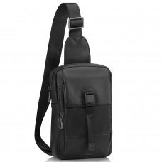 Мужская кожаная сумка-слинг черная Tiding Bag 312A - Royalbag