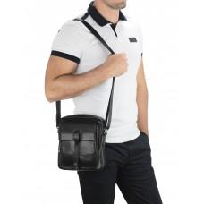 Мужская кожаная сумка через плечо черная Tiding Bag 316A - Royalbag