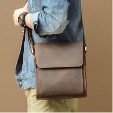 Чоловіча сумка-месенджер через плече з матової вінтажної шкіри Tiding Bag 7055DB - Royalbag