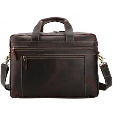 Вместительная мужская кожаная сумка с отделом для ноутбука 17 Tiding Bag 7319R - Royalbag
