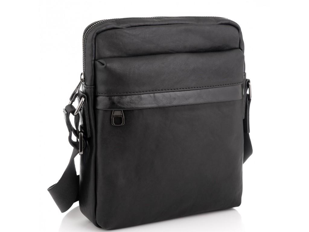 Классическая мужская кожаная сумка через плечо черная Tiding Bag 8721A - Royalbag Фото 1