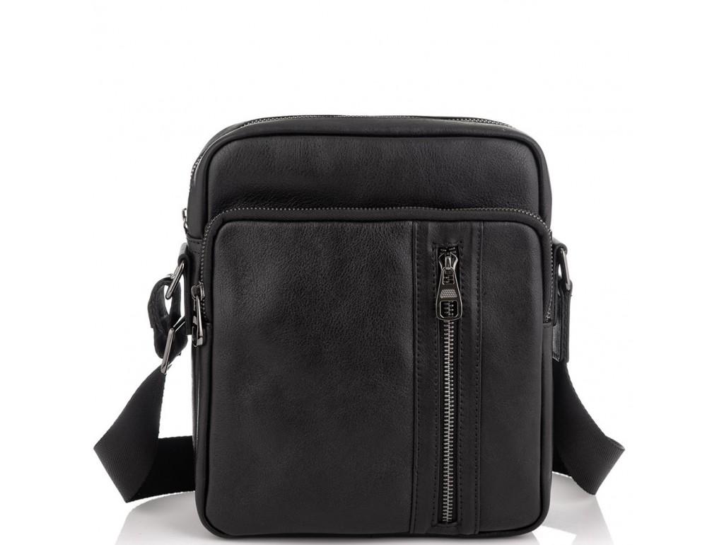 Мессенджер через плечо мужской кожаный черный Tiding Bag 9836A - Royalbag