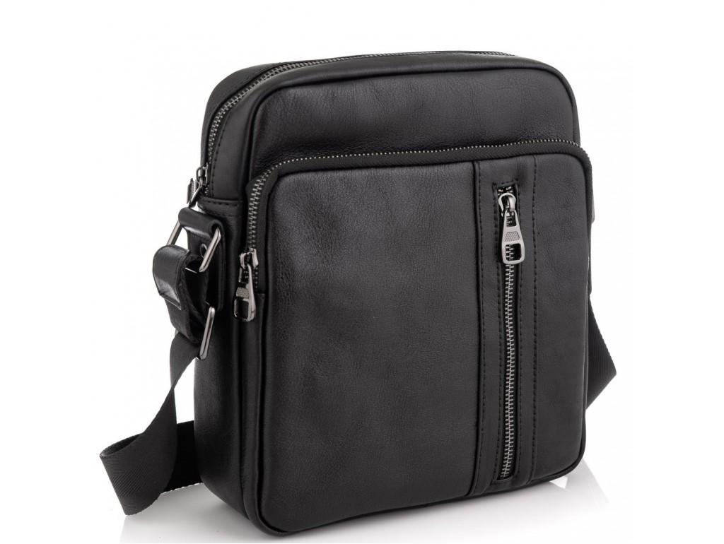 Мессенджер через плечо мужской кожаный черный Tiding Bag 9836A - Royalbag Фото 1
