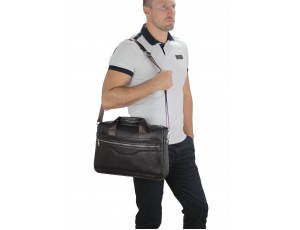 Шкіряна сумка для ноутбука коричнева Tiding Bag A25-1128C - Royalbag