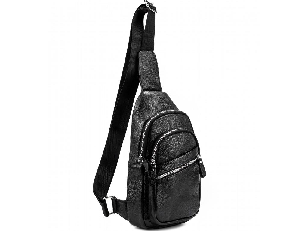 Мужской черный кожаный слинг Tiding Bag A25-5424A - Royalbag