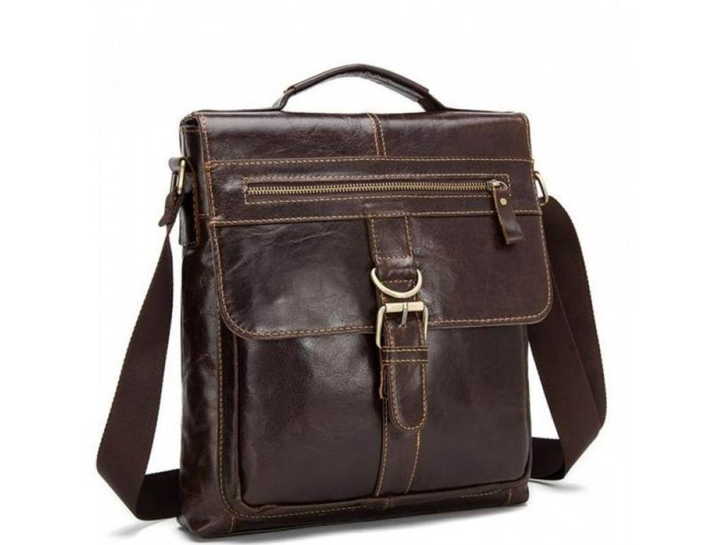 Большая мужская сумка через плечо из натуральной кожи Bexhill Bx1292C - Royalbag Фото 1