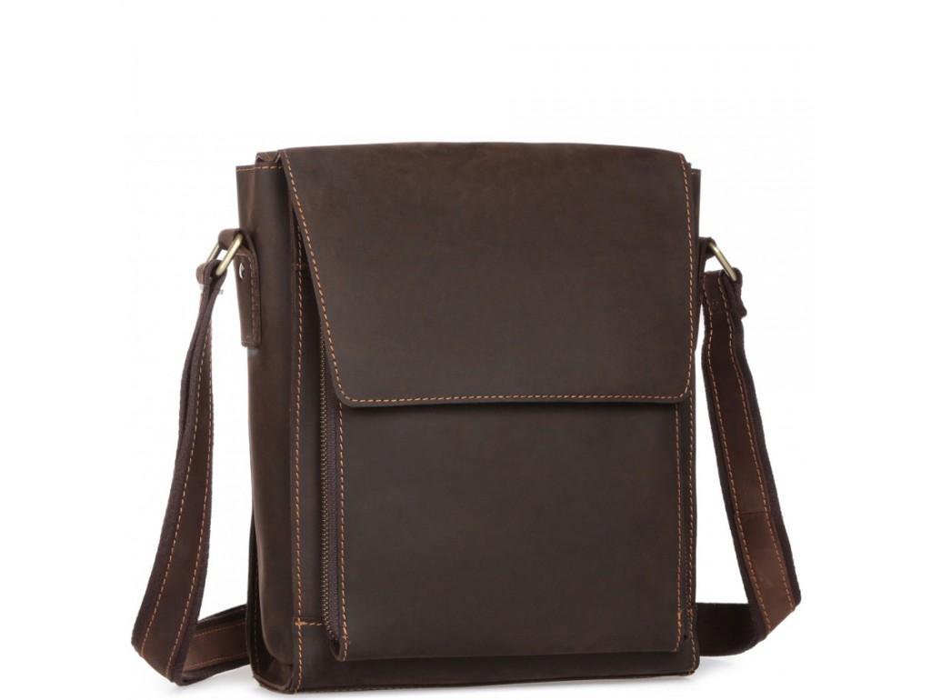 Мужская сумка-мессенджер через плечо из матовой винтажной кожи Tiding Bag 7055DB - Royalbag Фото 1