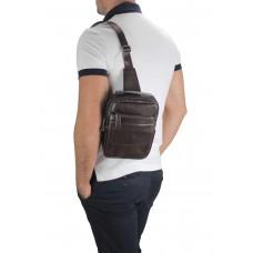 Мужская кожаная сумка-слинг коричневая Tiding Bag A25F-003B - Royalbag