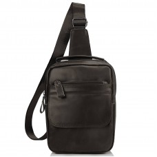 Мужская кожаная сумка-слинг темно-коричневая Tiding Bag A25F-003DB - Royalbag