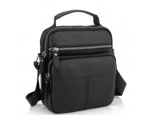 Сумка через плечо черная мужская кожаная Tiding Bag A25F-1436A - Royalbag