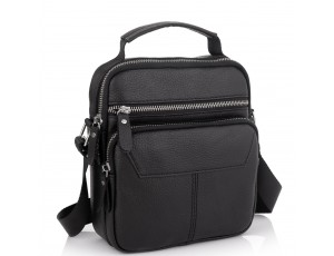 Сумка через плече чорна чоловіча шкіряна Tiding Bag A25F-1436A - Royalbag