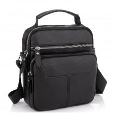 Сумка через плечо черная мужская кожаная Tiding Bag A25F-1436A - Royalbag Фото 2