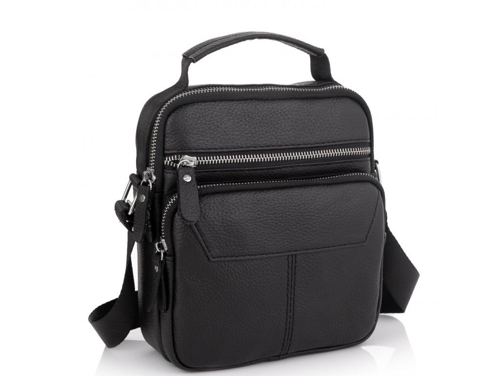 Сумка через плечо черная мужская кожаная Tiding Bag A25F-1436A - Royalbag Фото 1