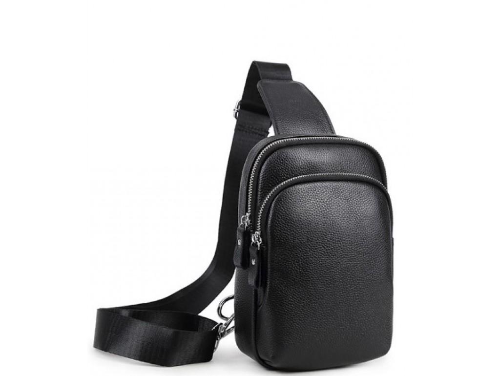 Мужской черный кожаный слинг на плечо Tiding Bag A25F-1922A - Royalbag Фото 1