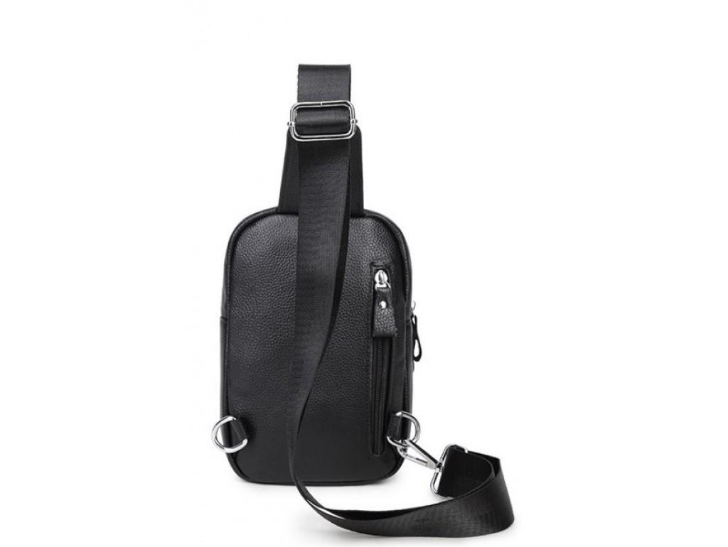 Мужской черный кожаный слинг на плечо Tiding Bag A25F-1922A - Royalbag