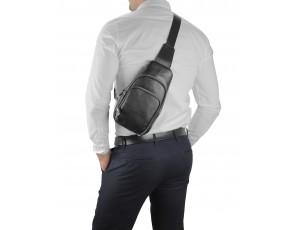 Кожаный черный слинг через плечо Tiding Bag A25F-5058A - Royalbag