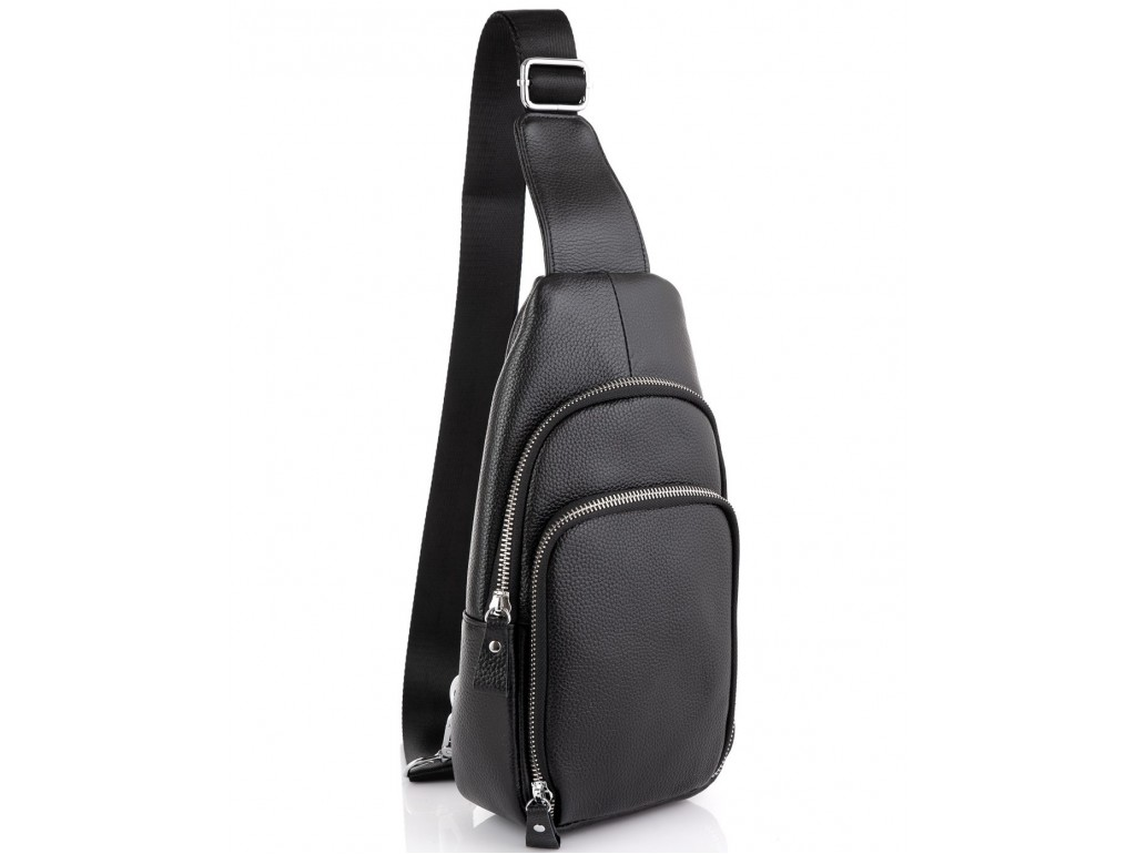 Кожаный черный слинг через плечо Tiding Bag A25F-5058A - Royalbag Фото 1