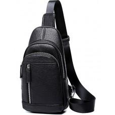Мужской черный кожаный слинг на плечо Tiding Bag A25F-5427A - Royalbag