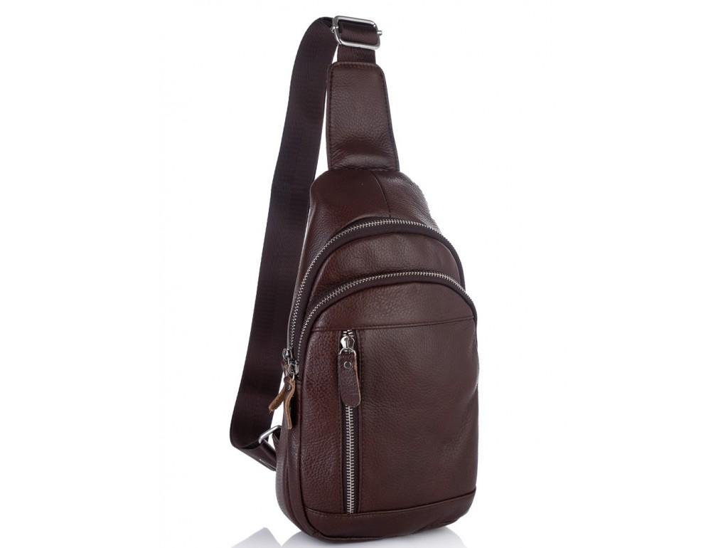 Мужской кожаный слинг через плечо коричневый Tiding Bag A25F-5427B - Royalbag