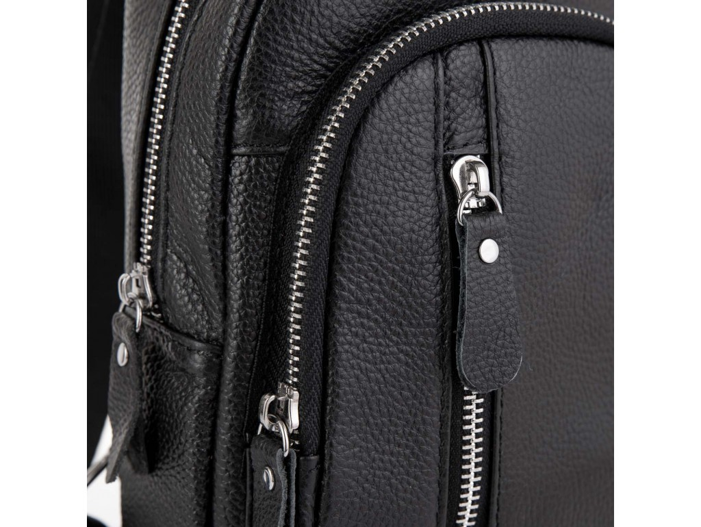 Мужской кожаный черный слинг на плечо Tiding Bag A25F-5605A - Royalbag